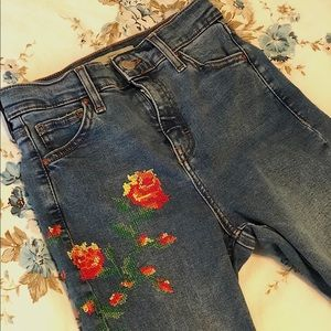Top Shop Moto Jamie jeans embroidered